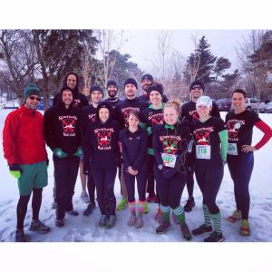 Strong Hearts Run Club pre-race, with a few missing